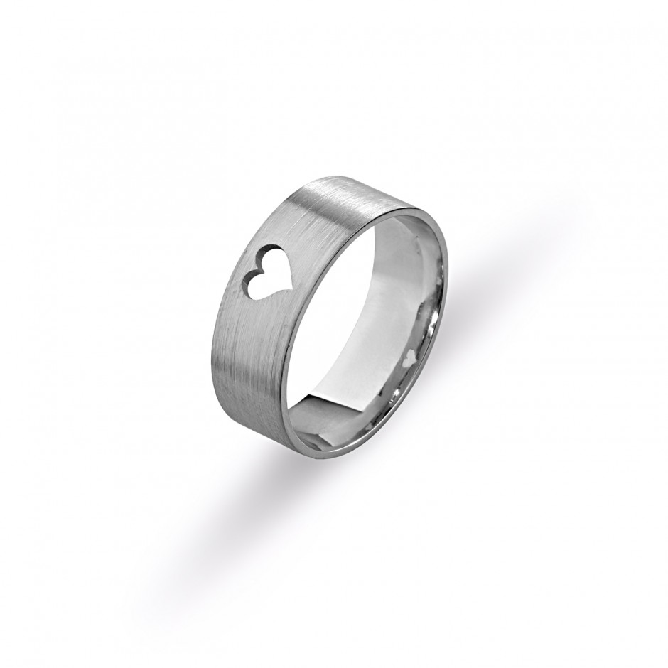 Silver Wedding Ring with Heart
