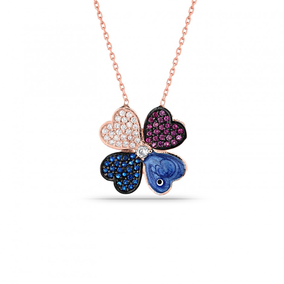 Colorful Clover Silver Necklace