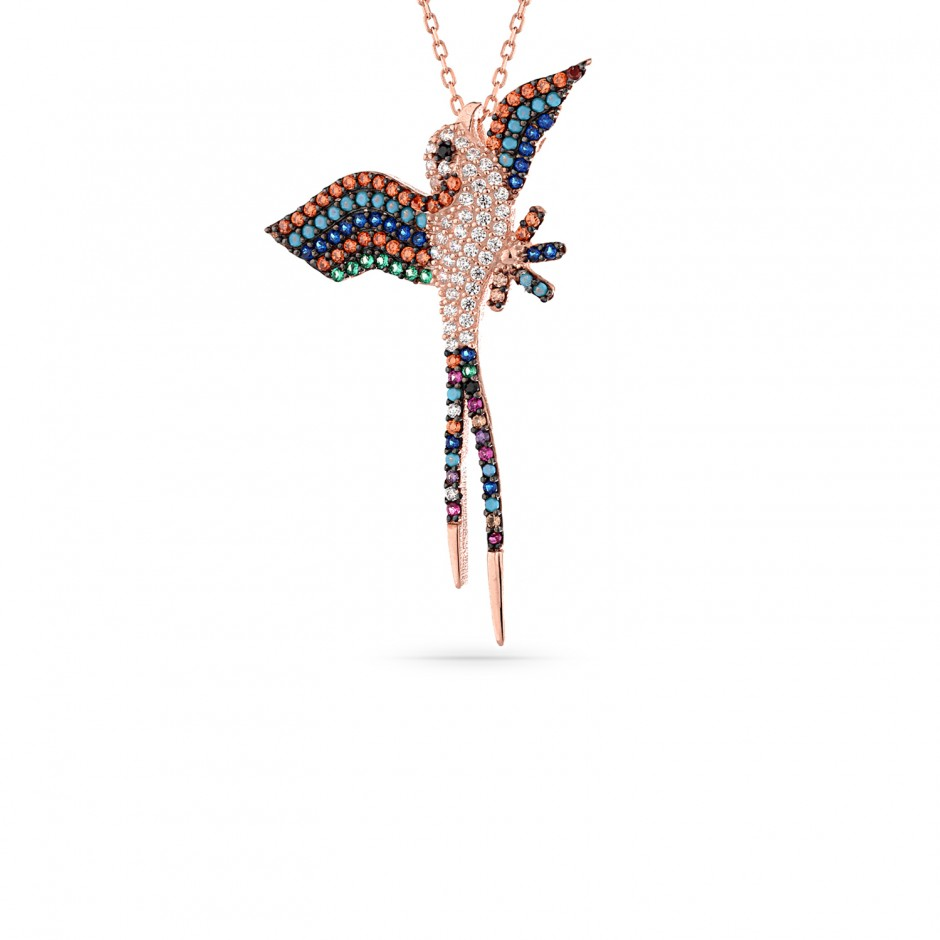 Silver Bird Necklace with Colored Stones