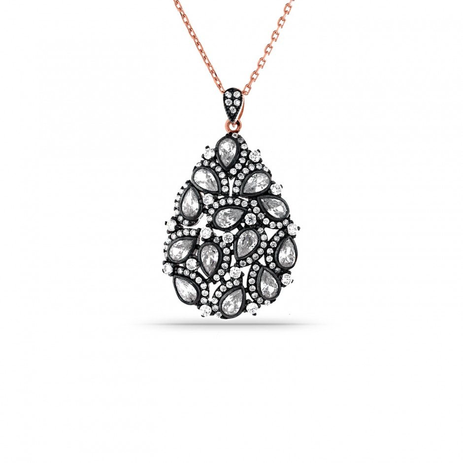 Diamond Model Drop Silver Necklace