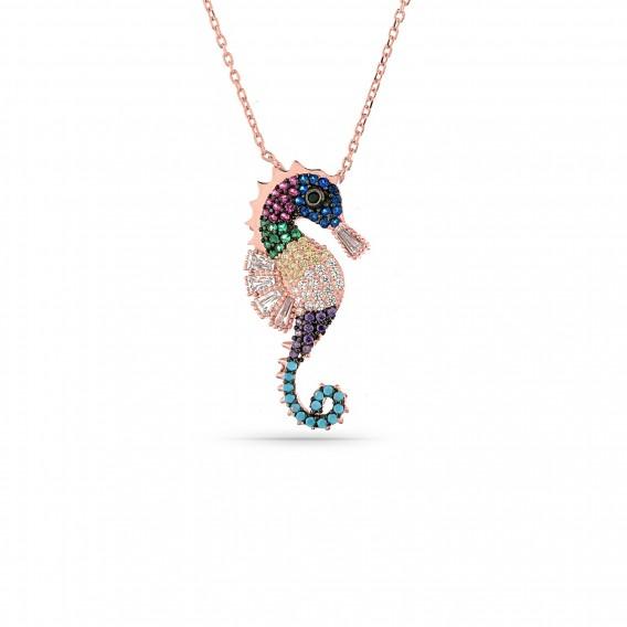 Renkli Taşlı Deniz Atı Kolye