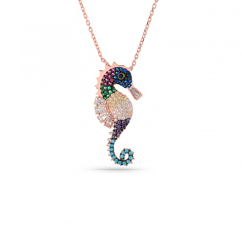 Colorful Stone Sea Horse Necklace