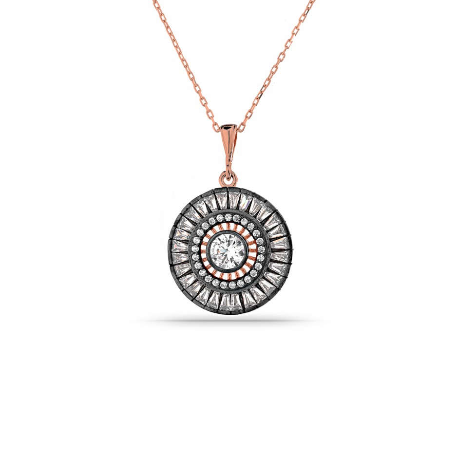 Baguette Stone Diamond Coat Silver Necklace