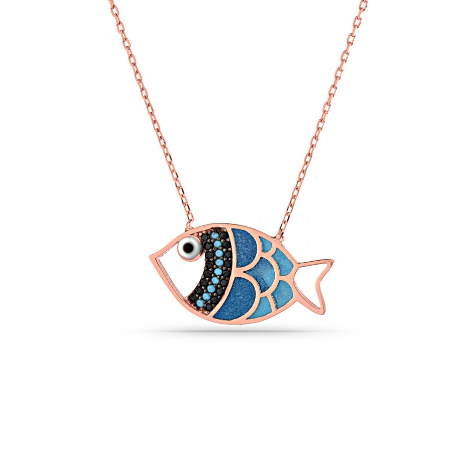 Blue Enamel Silver Fish Necklace