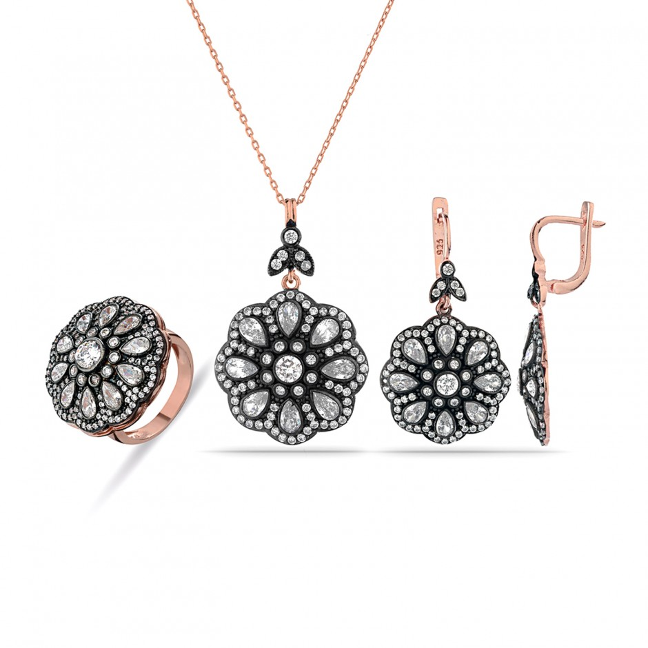 Diamond Model Silver Rose Set