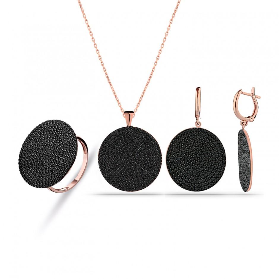 Onyx Stone Round Silver Set