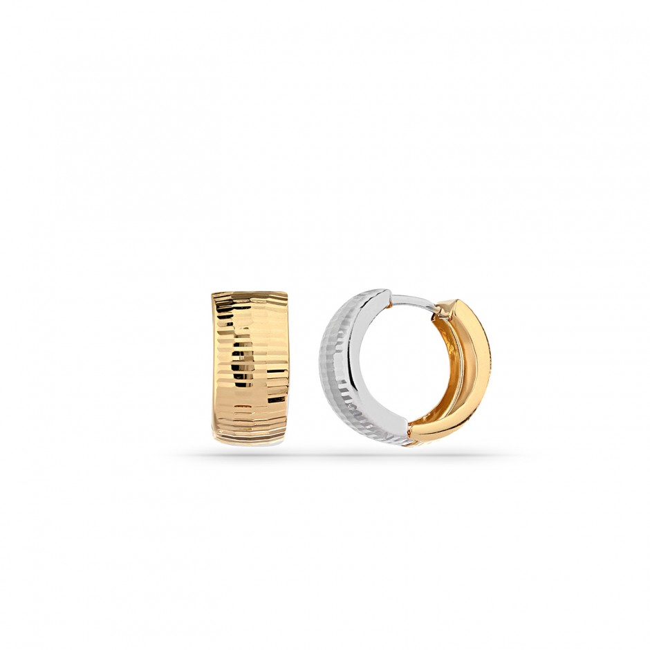 Yellow White Micron Gold Plated Silver Hoop Earrings