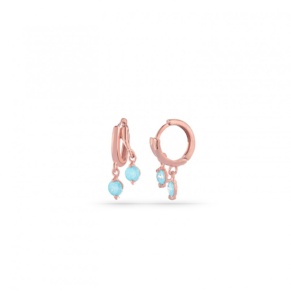 Aquamarine Stone Silver Hoop Earrings