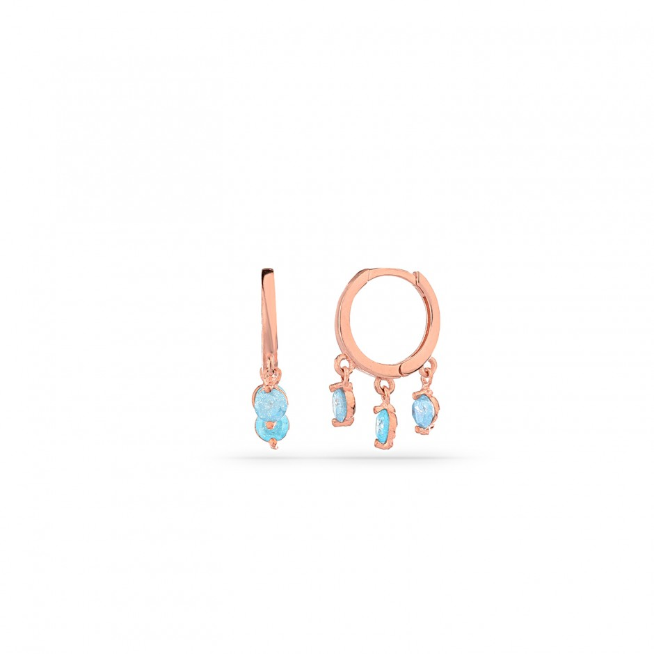 Aquamarin Stone Hoop Earrings