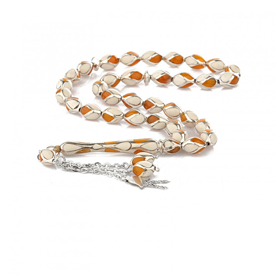 Amber and Ivory Embroidered Silver Lattice Gloes