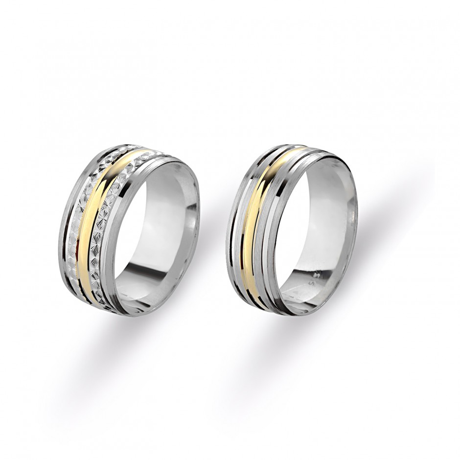 Yellow White Silver Wedding Ring