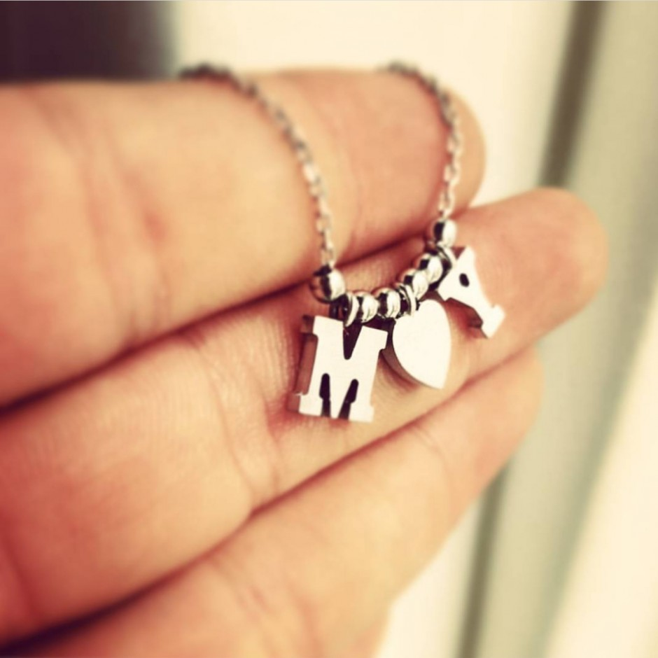 Lettered Silver Necklace