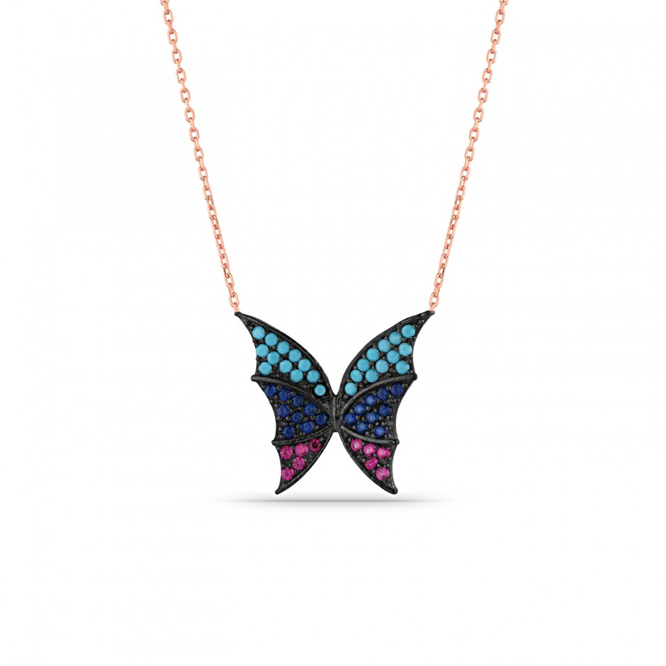 Three Color Butterfly Silver Necklace