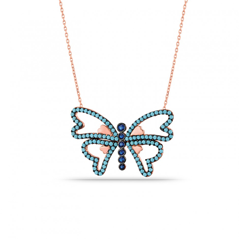 Firuze Butterfly Silver Necklace