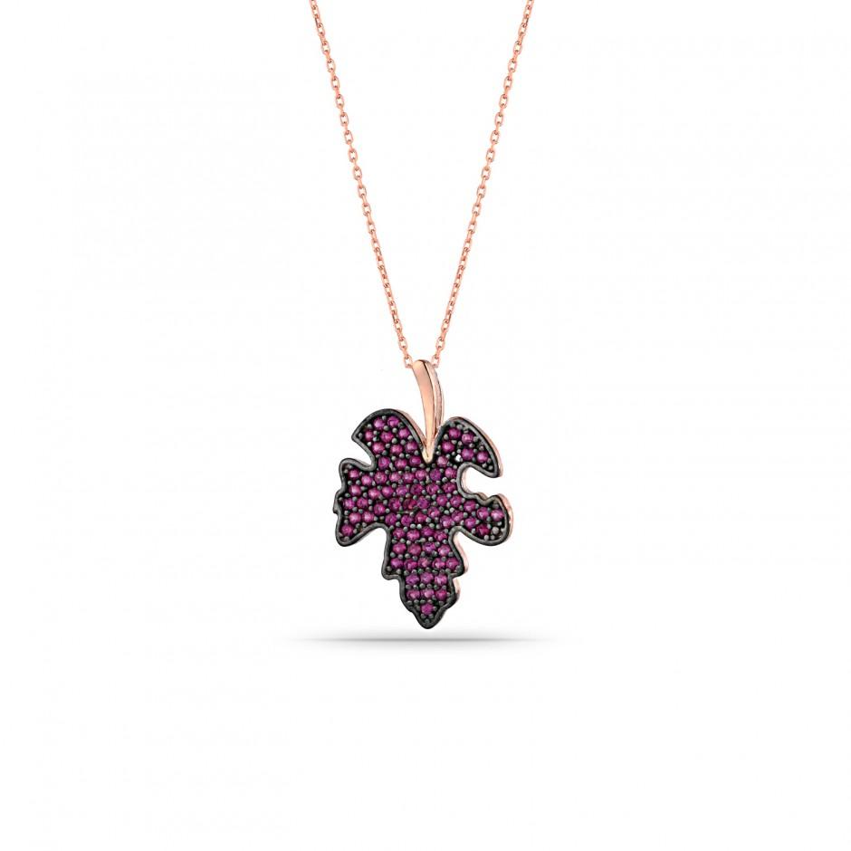 Fuchsya Stone Sycamore Leaf Silver Necklace