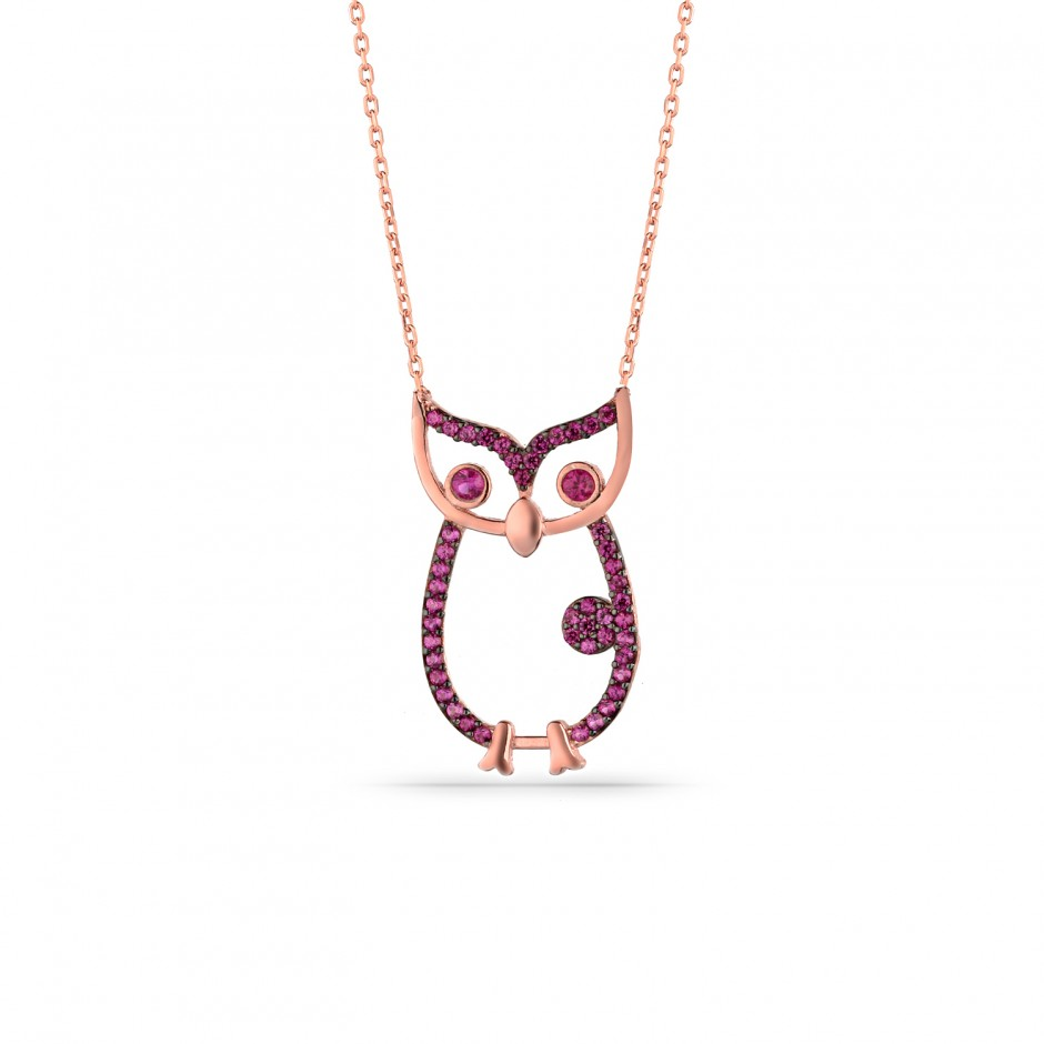 Fuchsya Stone Owl Themed Silver Necklace