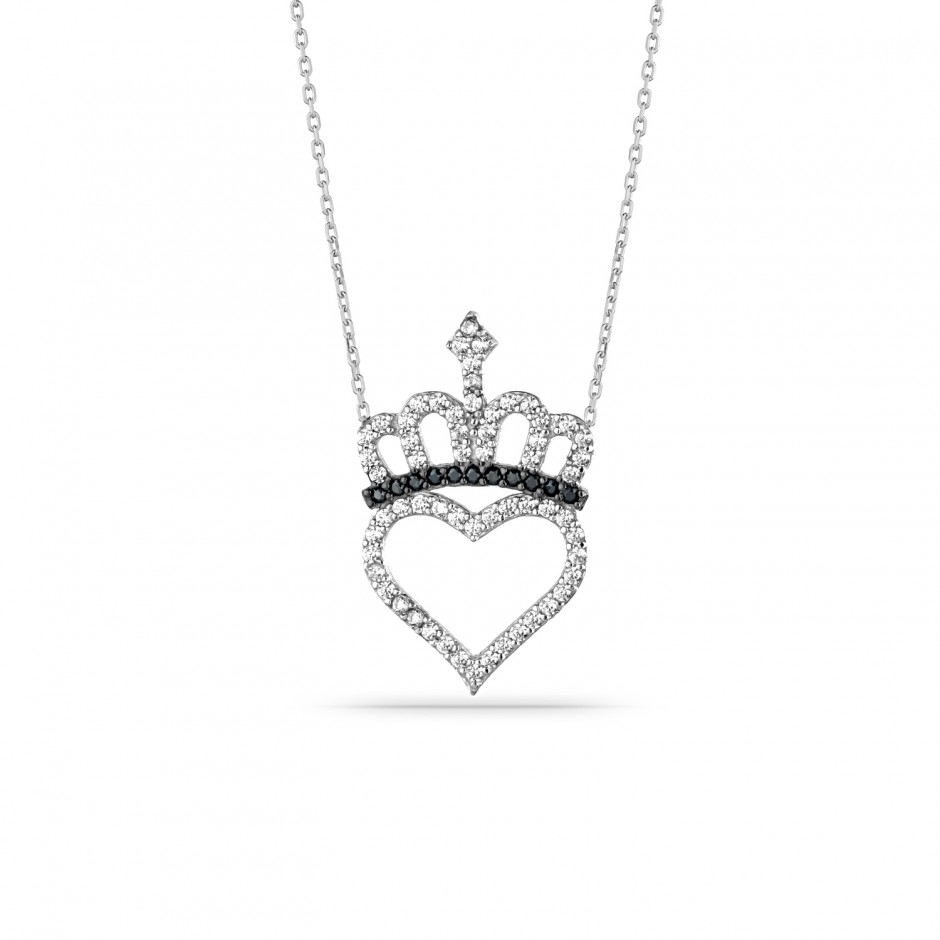 Hearty Crown Silver Necklace
