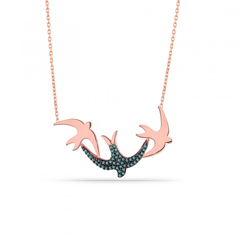 Swallow Firuze Silver Necklace