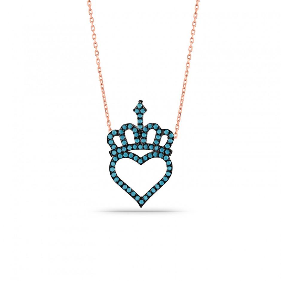 Firuze Kalpli Prenses Tacı Gümüş Kolye