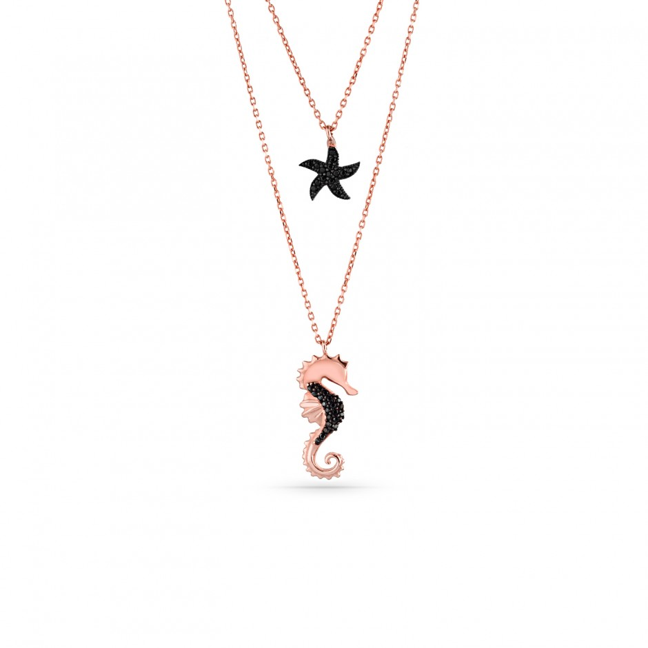 Sea Horse and Starfish Elevator Silver Necklace