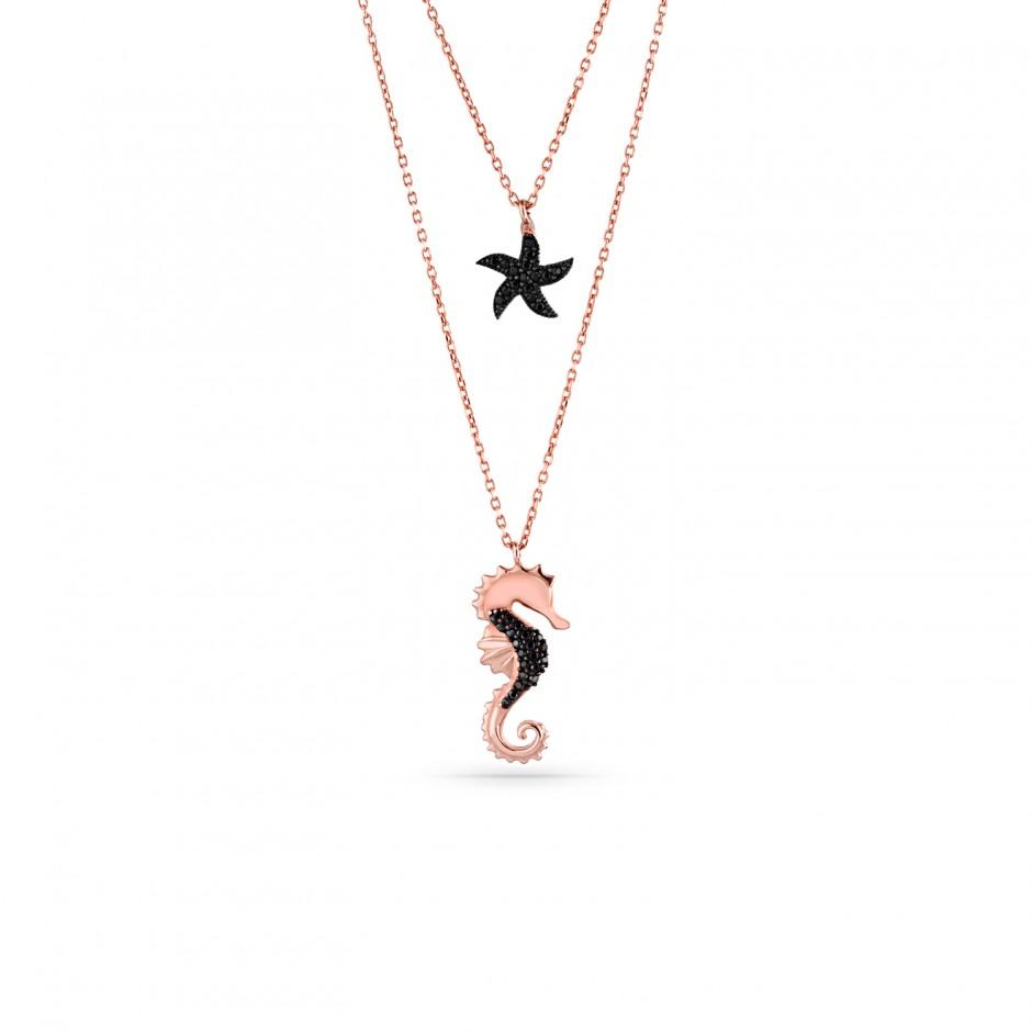 Deniz Atı ve Deniz Yıldızı Asansör Gümüş Kolye