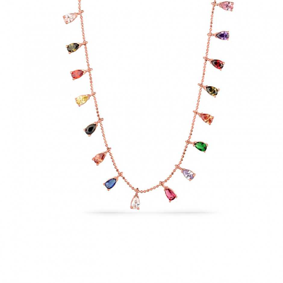 Colorful Array Drop Silver Necklace