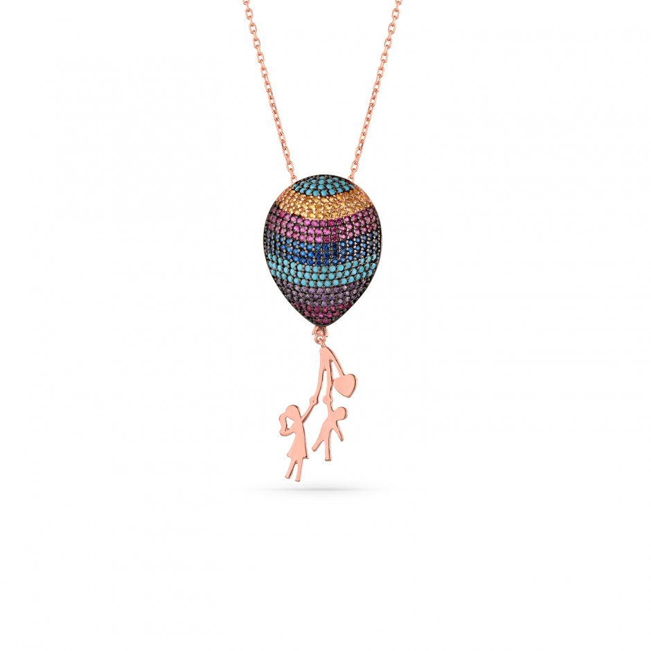 Design Three-Dimensional Silver Balloon Necklace