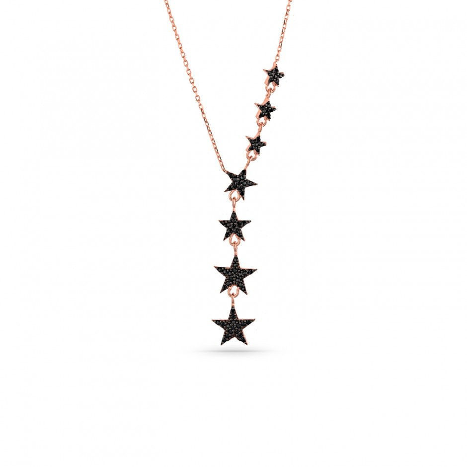 Onyx Stone Sequenth Star Silver Necklace