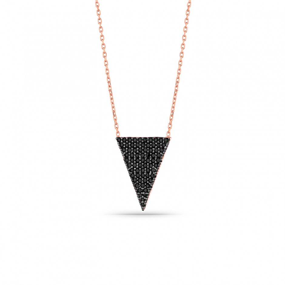 Triangular Silver Necklace with Onyx Stone