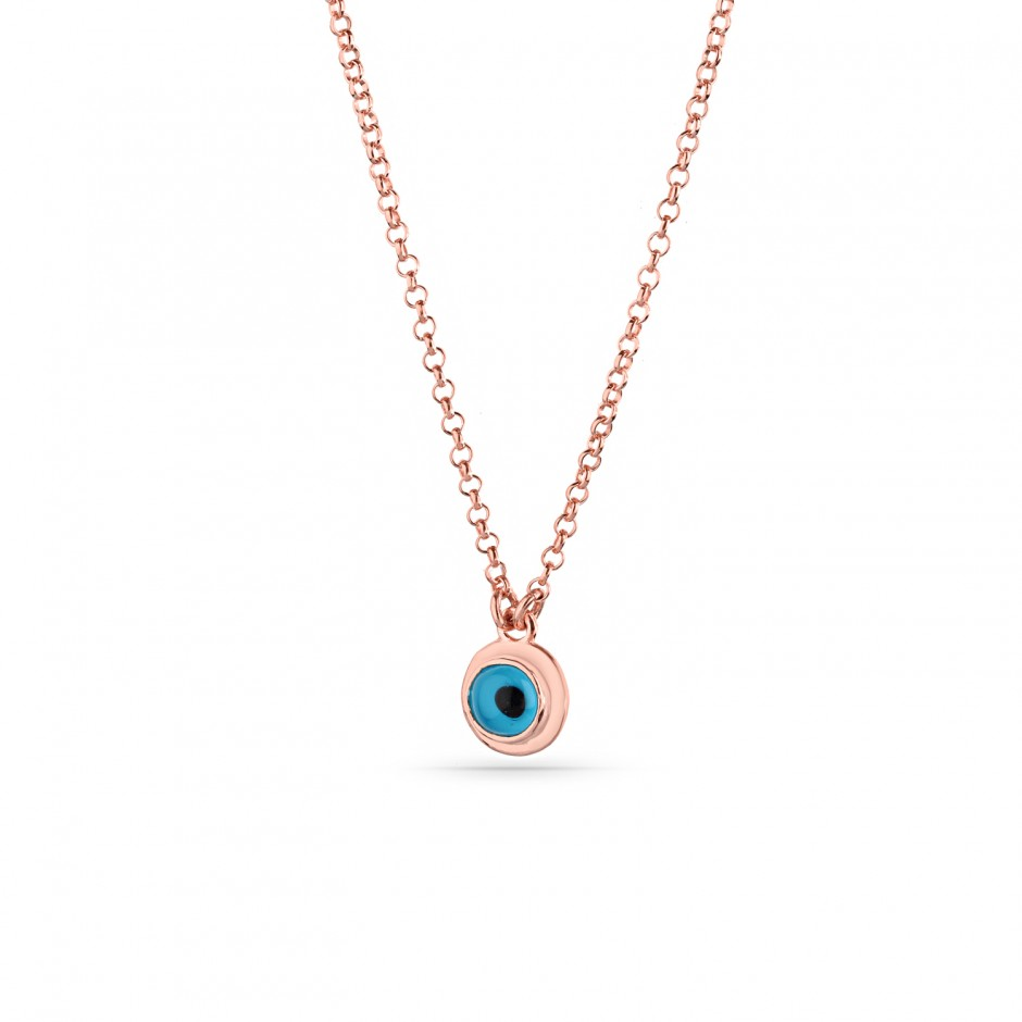 Evil Eye Beaded Silver Necklace
