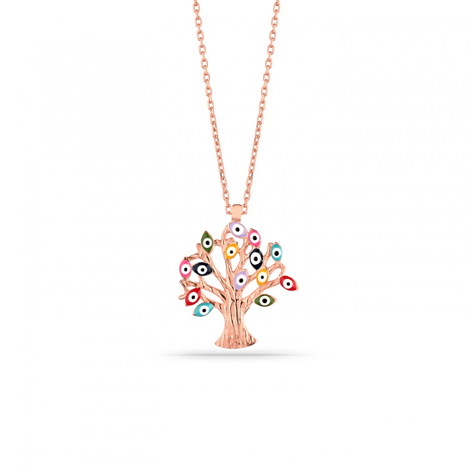 Evil Eye Beaded Tree of Life Silver Necklace