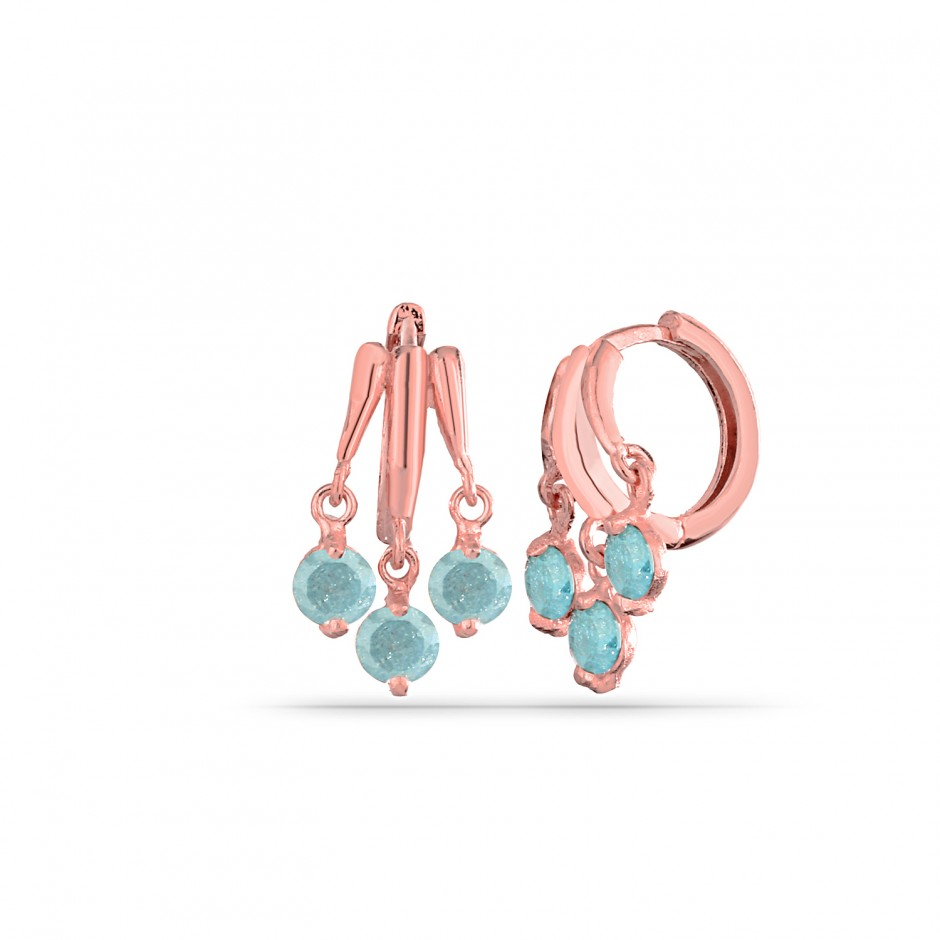 Aqua Stone Triple Silver Earrings