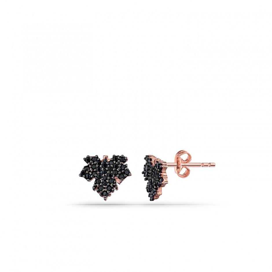 Onyx Stone Sycamore Leaf Silver Earrings