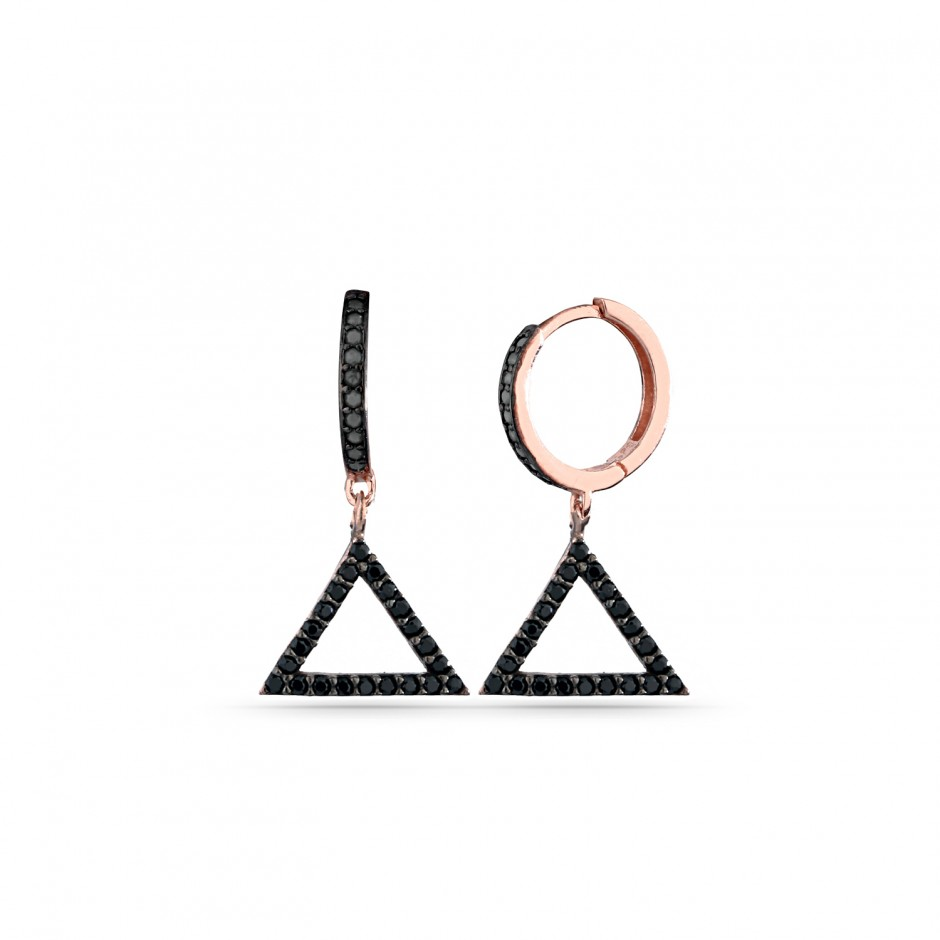Triangular Silver Earrings with Onyx Stones