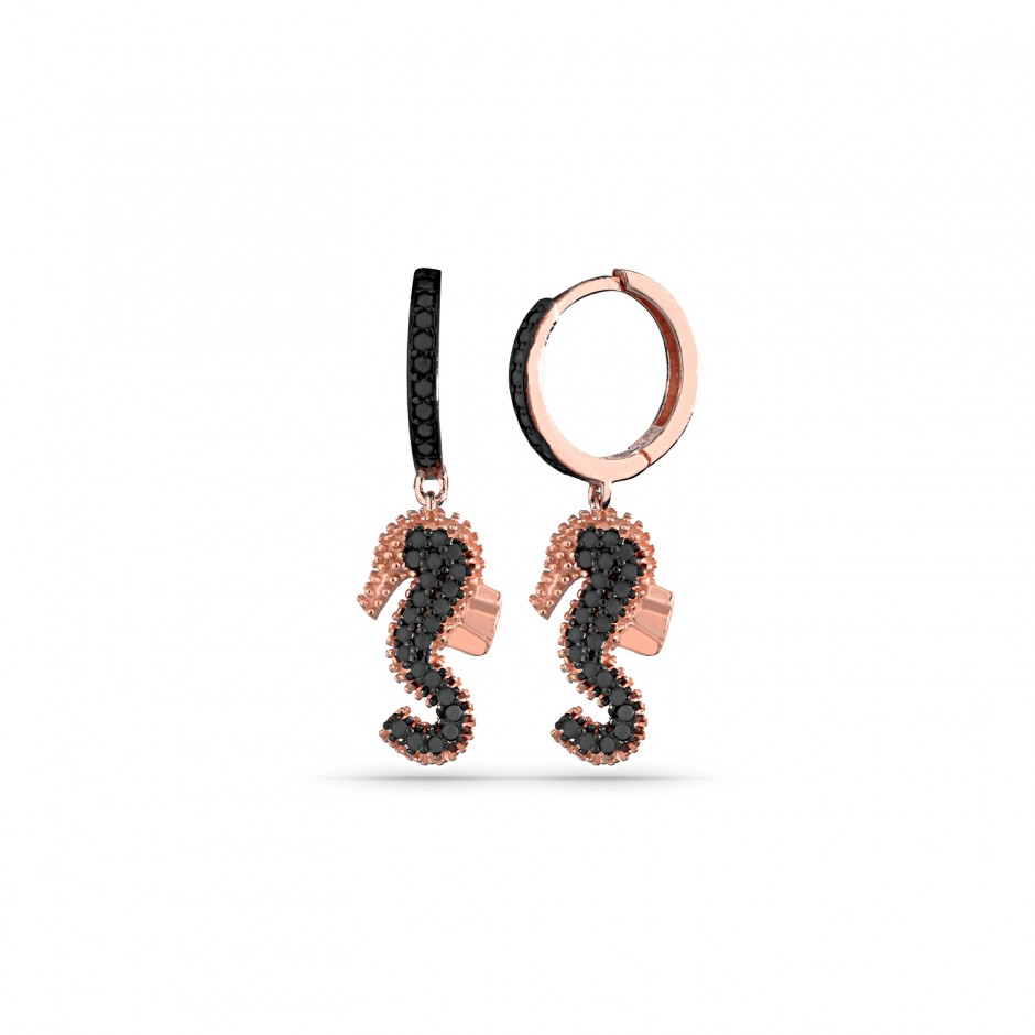 Onyx Stone Sea Horse Silver Earrings