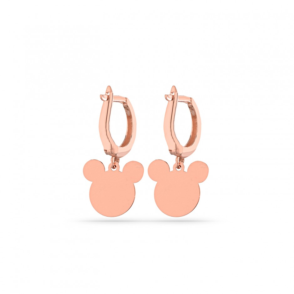 Lining Mickey Silver Earrings