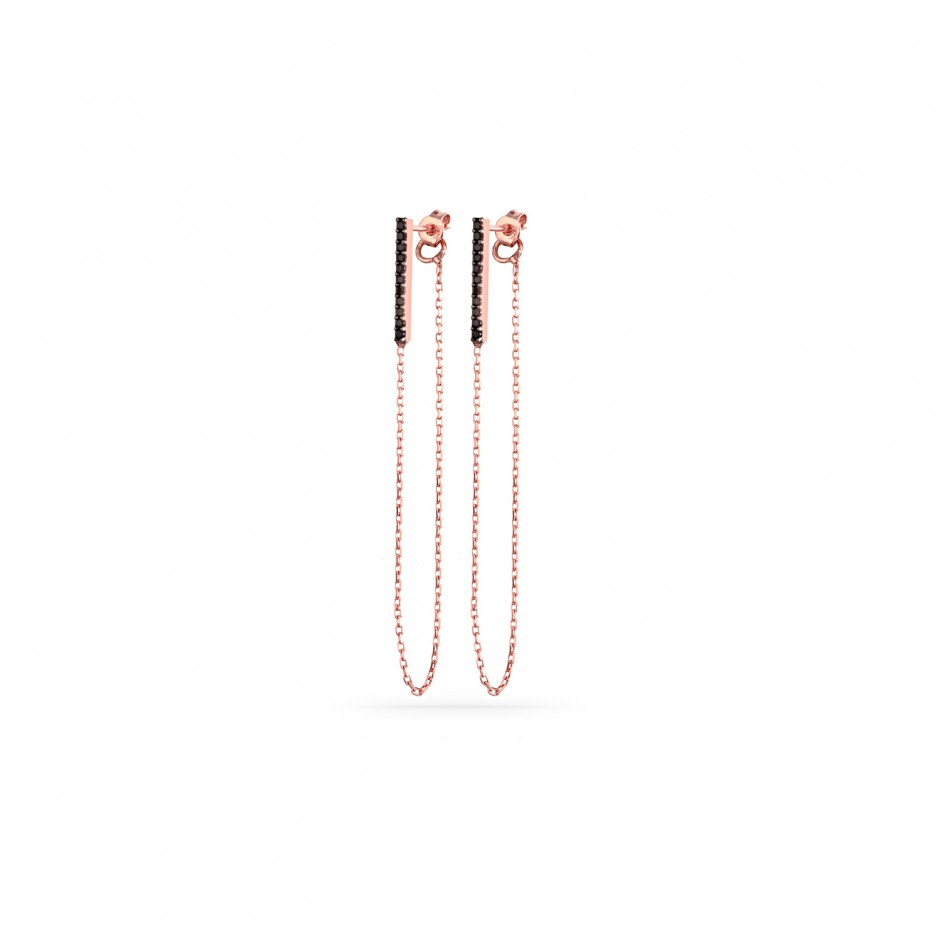 15mm Oniks Taşlı Çubuk Gümüş Küpe