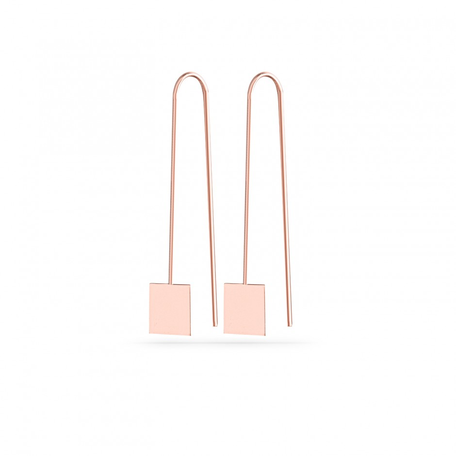 Square Nail Silver Earrings