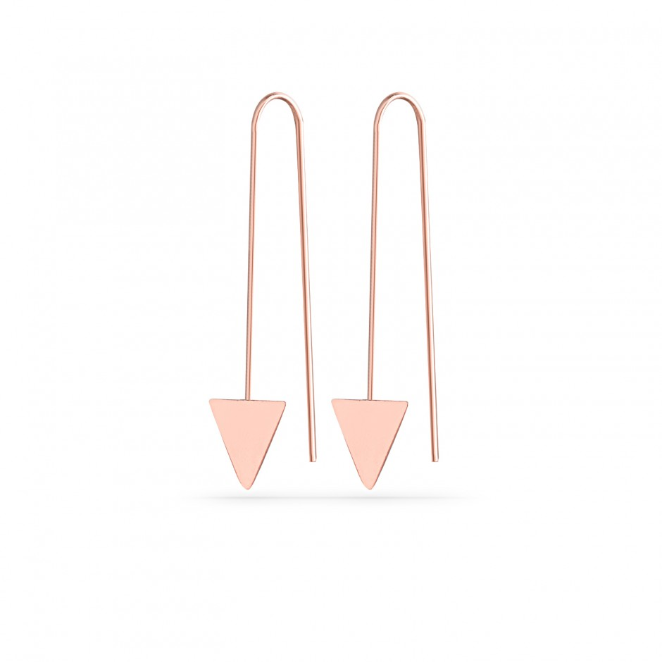 Triangular Nail Silver Earrings
