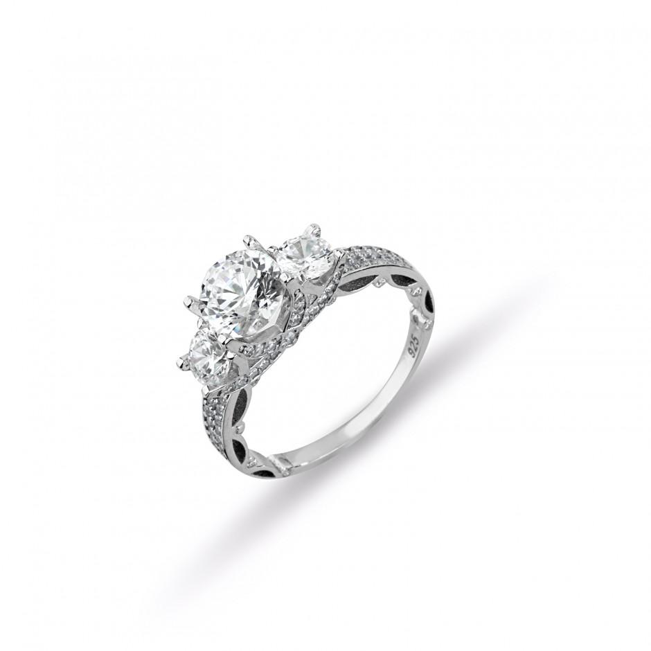 Swarovski Stone Legend Silver Tria Ring