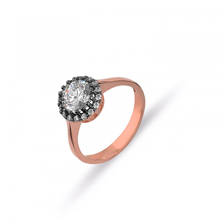 Diamond Montürü Swarovski Stone Daisy Silver Tasstone Ring