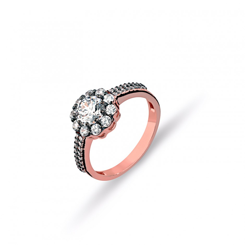 Diamond Montürü Swarovski Stone Daisy Silver Ring