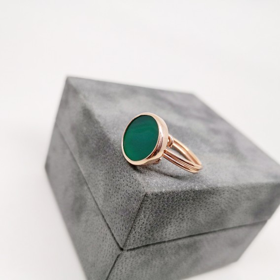 Yeşil Akik Taşlı Gümüş Yüzük