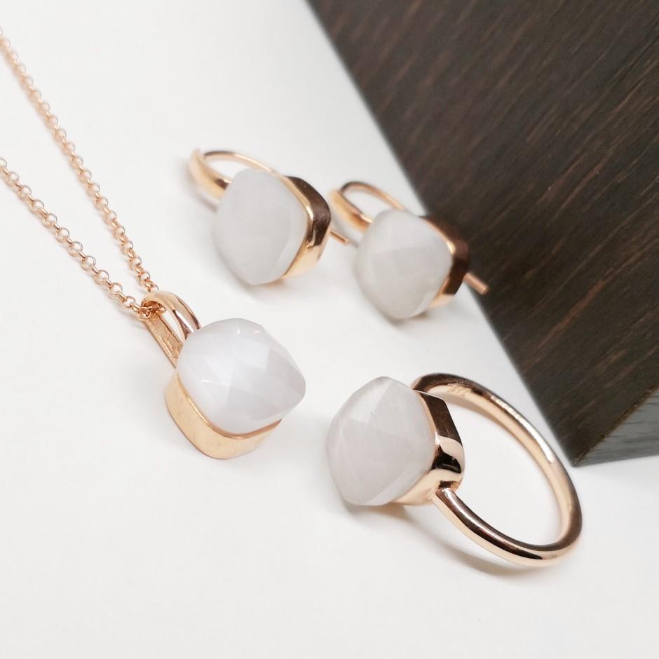Beyaz Zirkon Taşlı Gümüş Set