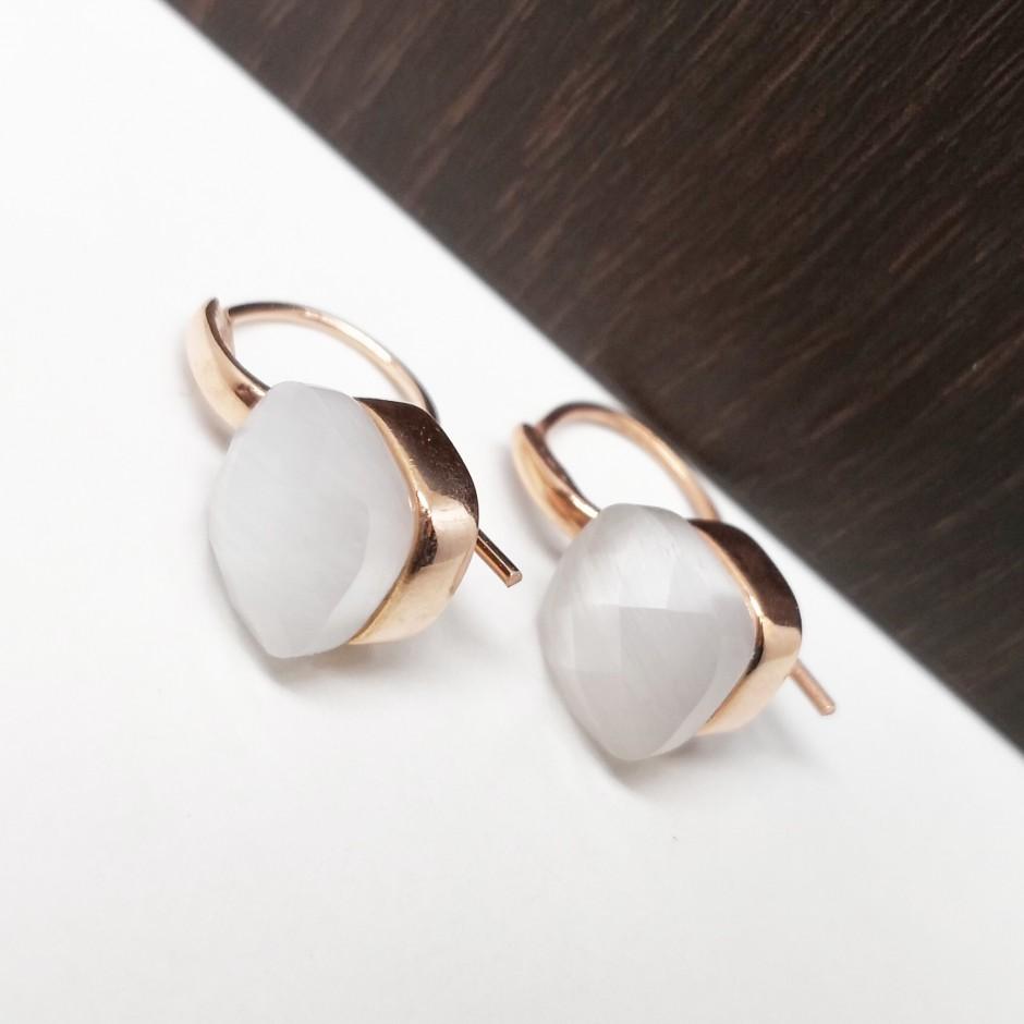 Beyaz Zirkon Taşlı Gümüş Küpe