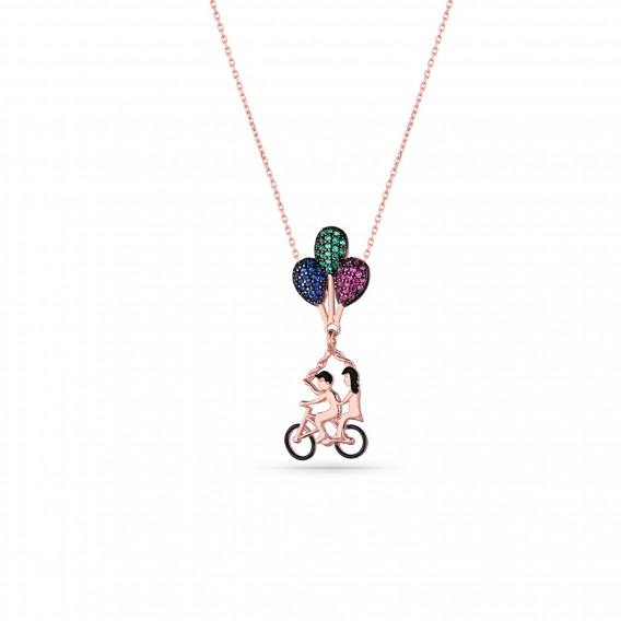 Balonlu Bisiklet Gümüş Kolye