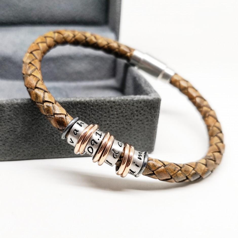 Four Ring Design Leather Bracelet
