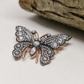 Elmas Montür Kelebek Broş