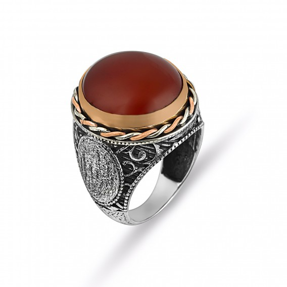 El İşi Akik Taşlı Gümüş Erkek Yüzüğü