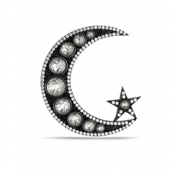 Ay Yıldız Elmas Montür Broş